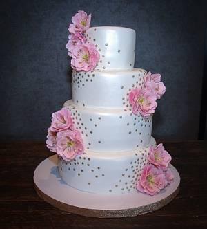 Pink Open Peonies Wedding Cake - Cake by RedHeadCakes