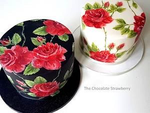 Rambling Roses Painted Cake - Cake by Sarah Jones