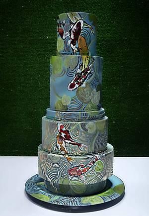 Chinese 70th Birthday Cake - Koi Pond - Cake by Jackie Florendo
