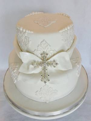 PURE WHITE BAPTISM CAKE - Cake by Enza - Sweet-E