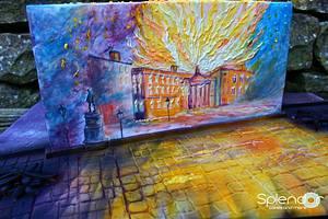 The GPO (General Post Office) burns in Dublin during the Easter Rising 1916 - Cake by Ellen Redmond@Splendor Cakes