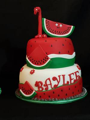 Watermelon themed - Cake by Creative Designs By Cass