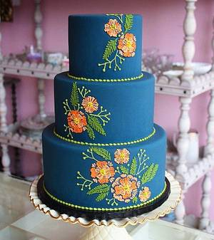 coral embroidery - Cake by breyanne