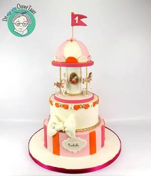 Carrousel cake orange/ pink - Cake by DeOuweTaart