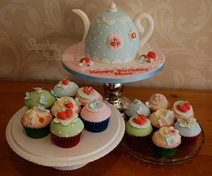 Cath Kidston style teapot cake and matching cupcakes - Cake by CupcakesbyLouise