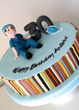 Doctors Cake, with Paul Smith stripes! - Cake by Zoe's Fancy Cakes