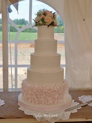 Simple Ruffle Wedding Cake - Cake by Carol