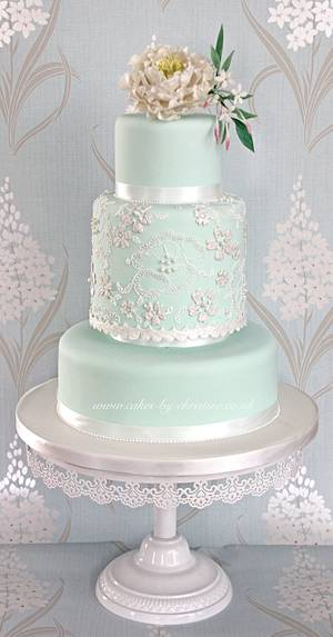 Peony and lace  - Cake by Cakes by Christine