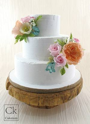 Rustic Floral Wedding Cake - Cake by Natasha Shomali