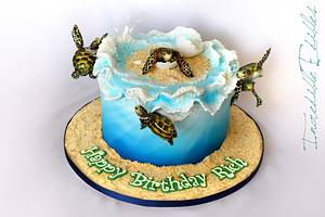 Surfin' Turtle - Cake by Vicki's Incredible Edibles
