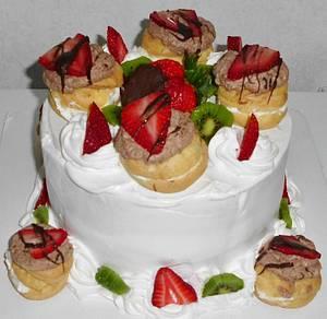 Cream Puff Strawberry Shortcake Cake - Cake by Carrie Freeman