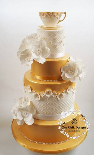 gold cup and saucer primose flowers cake - Cake by Zee Chik Designs