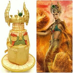 Gold Fashion Cake, Hathor - The Egyptian Goddess of Love - Cake by juddyoh