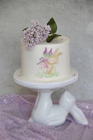 Handpainted bunny - Cake by Anastasia Kaliazin