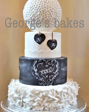 Chalk board wedding  - Cake by George's Bakes