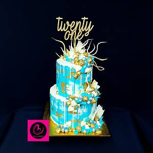 Teal gold and white 21st chocolate overload cake - Cake by Bella Cakes