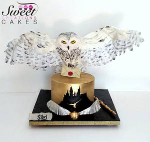 Harry Potter themed cake : gravity defying landing Hedwige owl  - Cake by Sweet Creations Cakes
