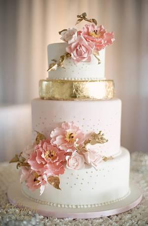 Blush and Gold Wedding Cake - Cake by Anna Elizabeth Cakes