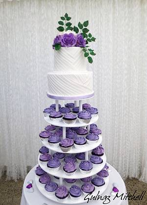 """Wedding cake with cupcakes tower """" Kirstin"""" - Cake by Gulnaz Mitchell"""