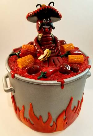 Mexican themed crawfish boil pot cake topper & plaque - Cake by eiciedoesitcakes