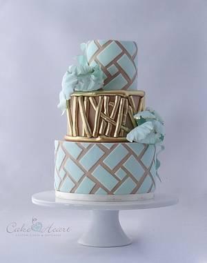 aqua~n~camel geometric pattern - Cake by Cake Heart