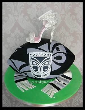 Warriors Rugby and Stiletto Grooms' cake - Cake by Mel_SugarandSpiceCakes