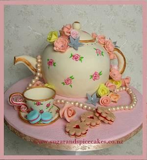 Vintage Teapot Cake with handmade sugar trinkets ~ - Cake by Mel_SugarandSpiceCakes