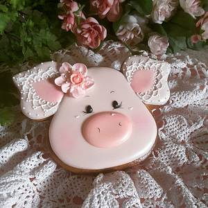 Pigs and lace  - Cake by Teri Pringle Wood