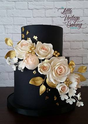 Black, Blush and Gold Floral Wedding Cake - Cake by Ashley Barbey