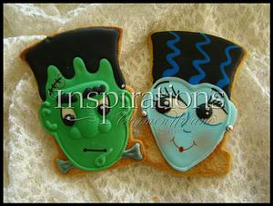 Inspiration's Spooky cookies Frankestein & Bride - Cake by Inspiration by Carmen Urbano