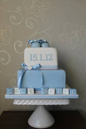 Baby Blue Christening Cake - Cake by Delights by Design