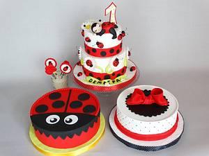 Four ladybug cakes for 1st birthday - Cake by Diana