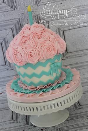 Chevron & Rosette Smash Cupcake - Cake by AlwaysWithCake