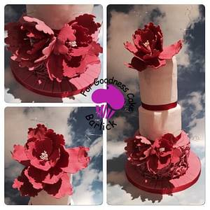 Rose ruffles and peonies - Cake by For goodness cake barlick
