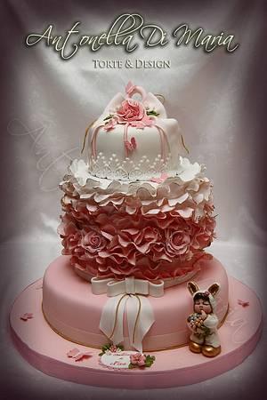ruffle christening  - Cake by Antonella Di Maria