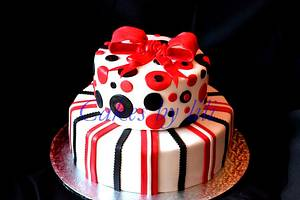 Red, white and black: dots-and-stripes  - Cake by Lize van den Heever