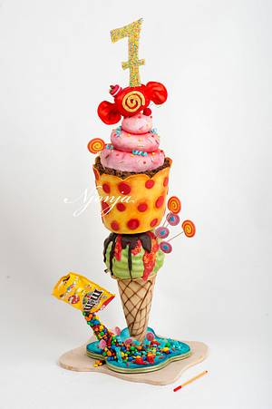 Candy sweets ice cream 3d cake - Cake by Njonja