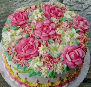 Pink rose garden buttercream cake - Cake by Nancys Fancys Cakes & Catering (Nancy Goolsby)