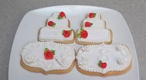 red roses wedding cake cookies - Cake by MBalaska