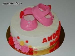 Pink baby shoes cake - Cake by alexandravasile