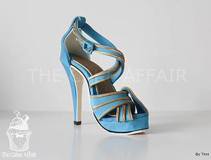 Blue and gold Stiletto - Cake by Designer Cakes By Timilehin