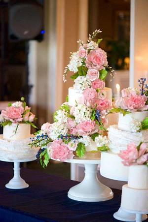 Navy and Pink Sugar Flower Wedding Cakes - Cake by Alex Narramore (The Mischief Maker)