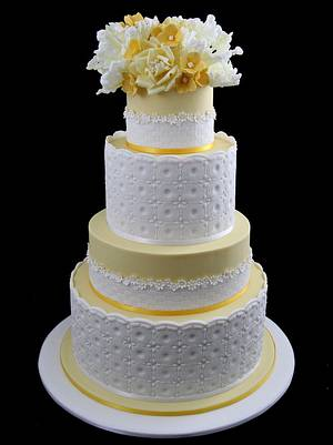yellow wedding cake with tulips, roses and hydrangea - Cake by InspiredbyMichelle
