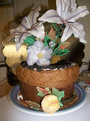 Gumpaste lilies in a pot - Cake by ShellysSweets