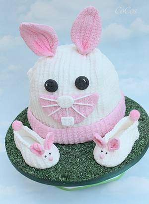 Knitted effect easter bunny hat and booties - Cake by Lynette Brandl