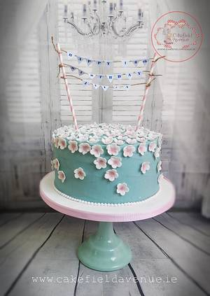 Turquoise & Blossoms - Cake by Agatha Rogowska ( Cakefield Avenue)