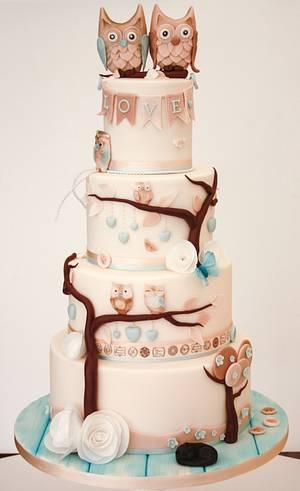 Vegan Owl Wedding cake - Cake by Samantha's Cake Design