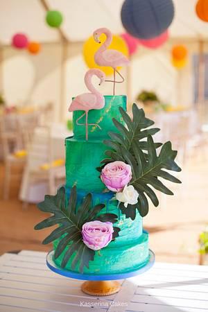 Flamingos - Cake by Kasserina Cakes