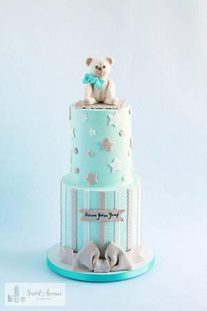 Teddy Bear Topper Baby Shower Cake - Cake by Sweet Avenue Cakery