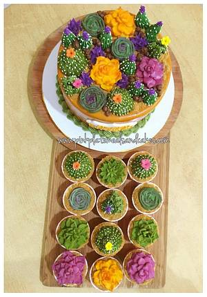 Succulent cake and cupcake set - Cake by Pink Plate Meals and Cakes